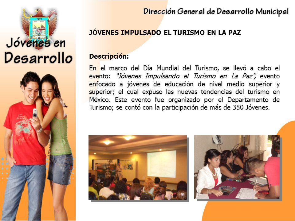 JÓVENES IDEAS, PARA EL DESARROLLO DEL TURISMO EN LA PAZ Descripción: Descripción: Convocatoria enfocada a Jóvenes Estudiantes de Turismo; con el propósito de promover ideas novedosas para el desarrollo de futuros productos turísticos en el municipio de La Paz, y así contribuir al fomento de la actividad turística municipal, a través de la diversificacion de oferta, por medio de la creación de paquetes y circuitos turísticos, que promuevan el desarrollo de las comunidades rurales.