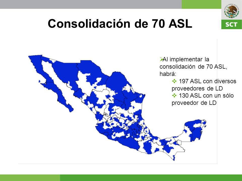 Al finalizar el proceso, diciembre 2009, habrá 196 ASL con varios proveedores deservicio de LD en todo el país Con lo que se beneficiara a más 9 millones de líneas fijas Se logrará disminuir en 50% las zonas de larga distancia