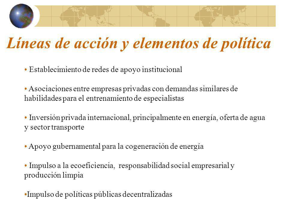 Líneas de acción y elementos de política Establecimiento de redes de apoyo institucional Asociaciones entre empresas privadas con demandas similares d