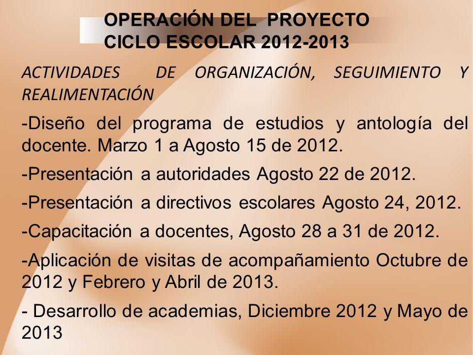 OPERACIÓN DEL PROYECTO CICLO ESCOLAR 2012-2013 ACTIVIDADES DE ORGANIZACIÓN, SEGUIMIENTO Y REALIMENTACIÓN -Diseño del programa de estudios y antología