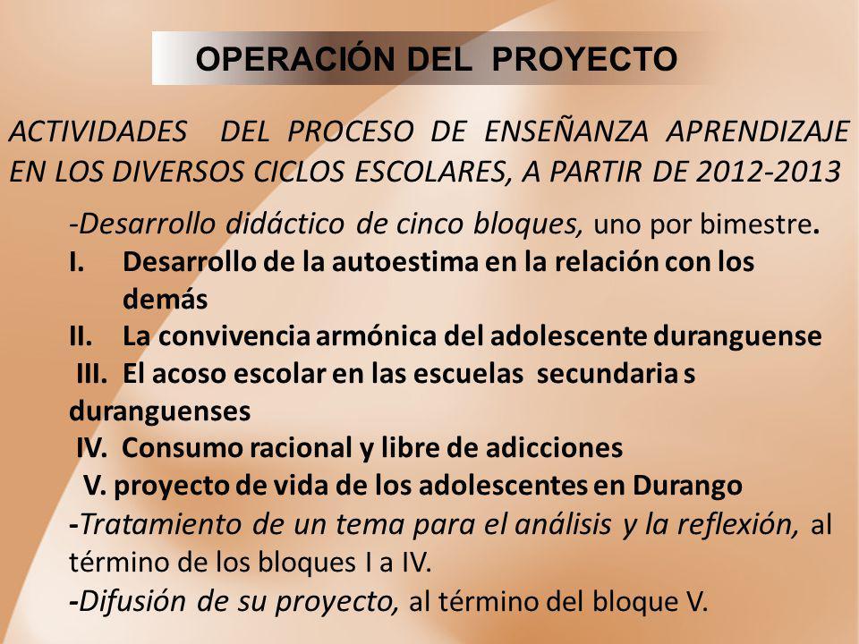 OPERACIÓN DEL PROYECTO ACTIVIDADES DEL PROCESO DE ENSEÑANZA APRENDIZAJE EN LOS DIVERSOS CICLOS ESCOLARES, A PARTIR DE 2012-2013 -Desarrollo didáctico
