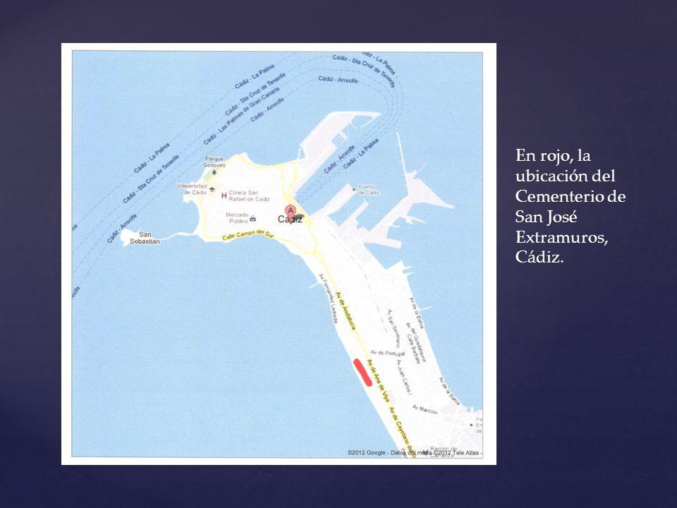 En rojo, la ubicación del Cementerio de San José Extramuros, Cádiz.