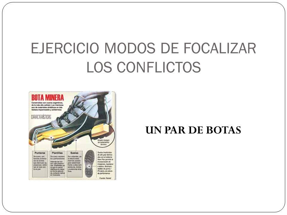 EJERCICIO MODOS DE FOCALIZAR LOS CONFLICTOS UN PAR DE BOTAS