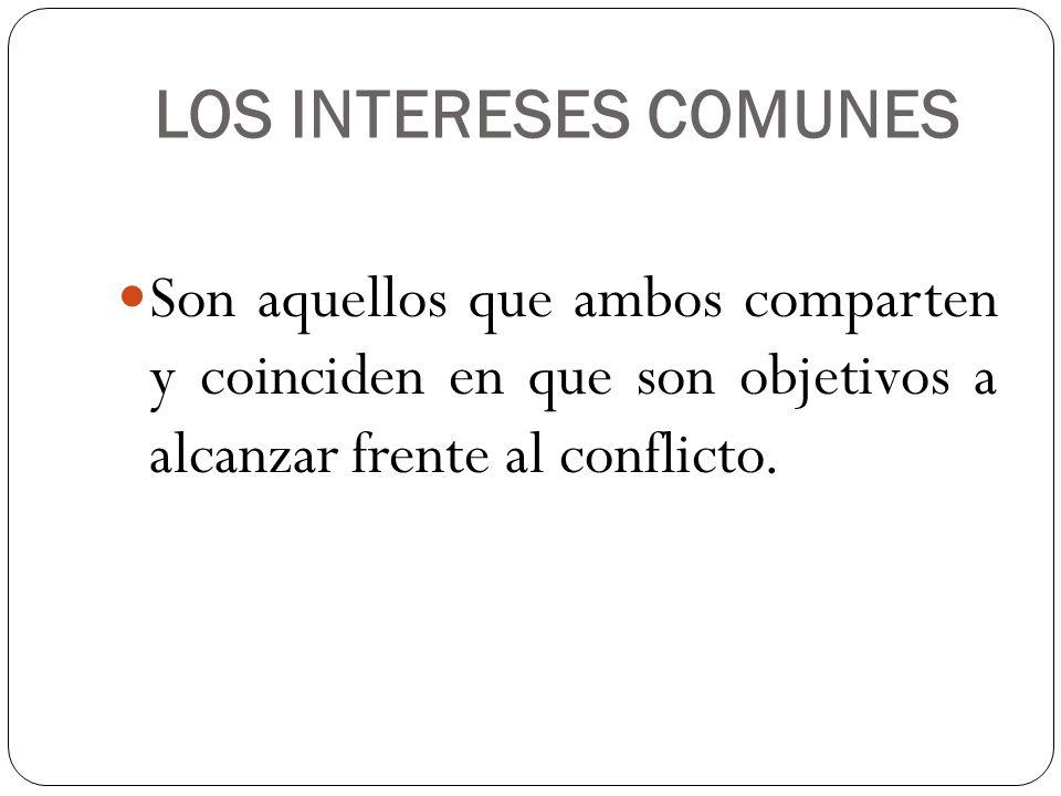 LOS INTERESES COMUNES Son aquellos que ambos comparten y coinciden en que son objetivos a alcanzar frente al conflicto.