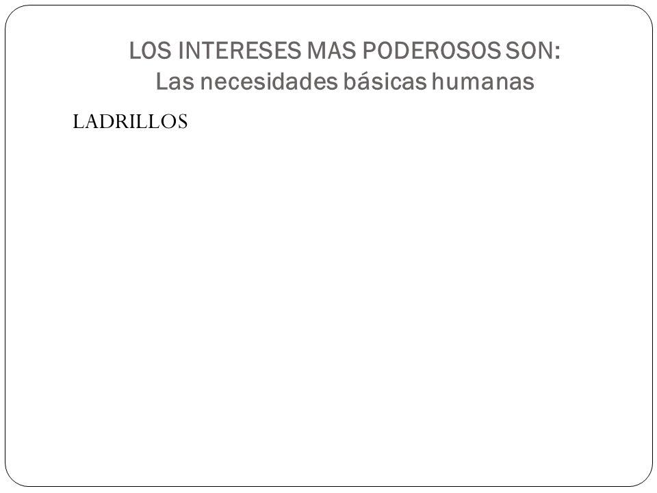 LOS INTERESES MAS PODEROSOS SON: Las necesidades básicas humanas LADRILLOS