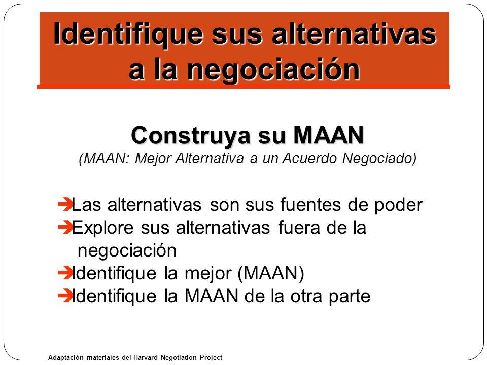 Construya su MAAN (MAAN: Mejor Alternativa a un Acuerdo Negociado) è Las alternativas son sus fuentes de poder è Explore sus alternativas fuera de la