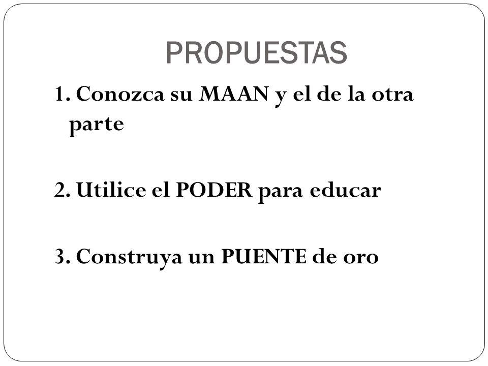 PROPUESTAS 1. Conozca su MAAN y el de la otra parte 2. Utilice el PODER para educar 3. Construya un PUENTE de oro
