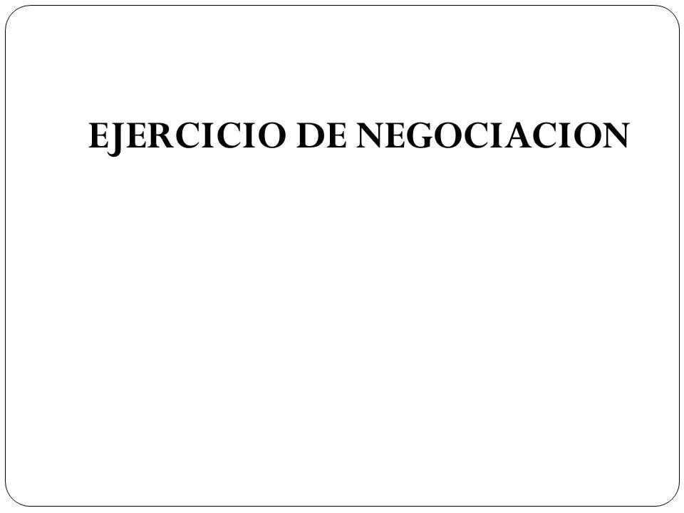 EJERCICIO DE NEGOCIACION