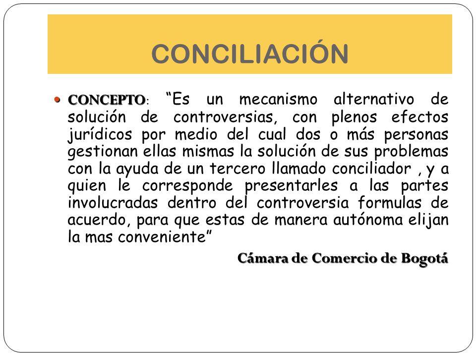 CONCILIACIÓN CONCEPTO CONCEPTO: Es un mecanismo alternativo de solución de controversias, con plenos efectos jurídicos por medio del cual dos o más pe