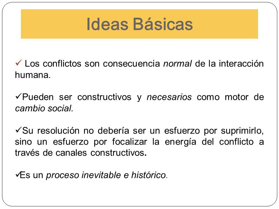 Los conflictos son consecuencia normal de la interacción humana. Pueden ser constructivos y necesarios como motor de cambio social. Su resolución no d