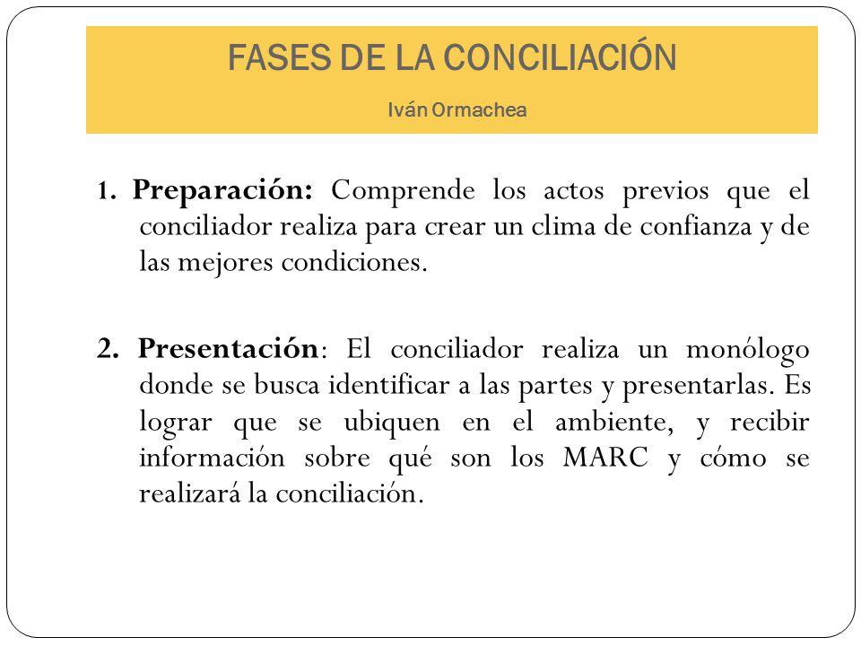 FASES DE LA CONCILIACIÓN Iván Ormachea 1. Preparación: Comprende los actos previos que el conciliador realiza para crear un clima de confianza y de la
