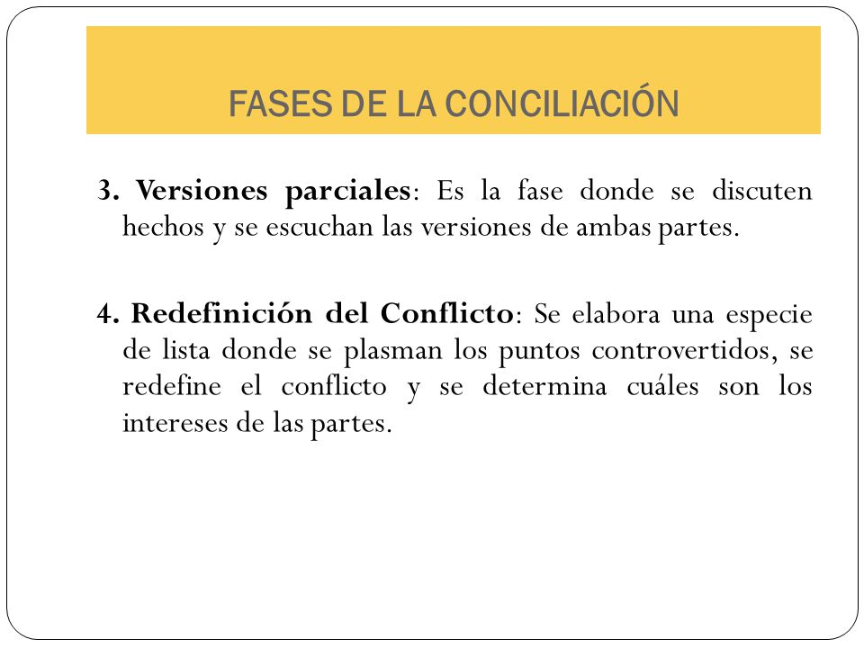FASES DE LA CONCILIACIÓN 3. Versiones parciales: Es la fase donde se discuten hechos y se escuchan las versiones de ambas partes. 4. Redefinición del