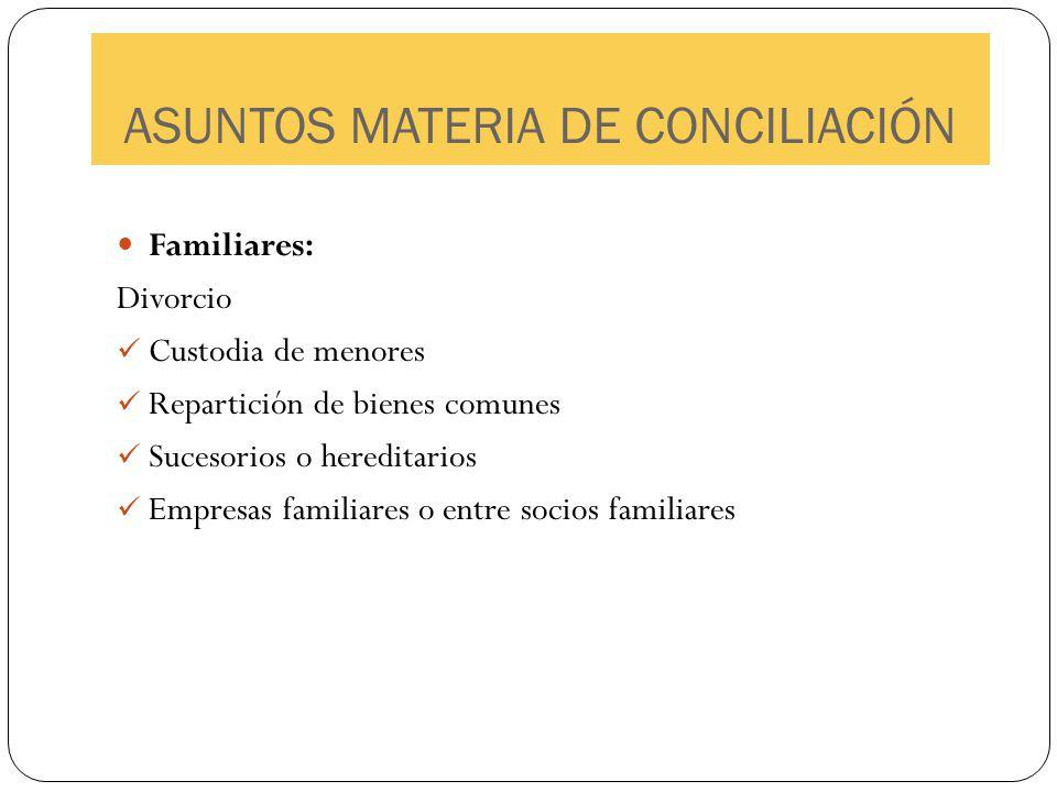 ASUNTOS MATERIA DE CONCILIACIÓN Familiares: Divorcio Custodia de menores Repartición de bienes comunes Sucesorios o hereditarios Empresas familiares o