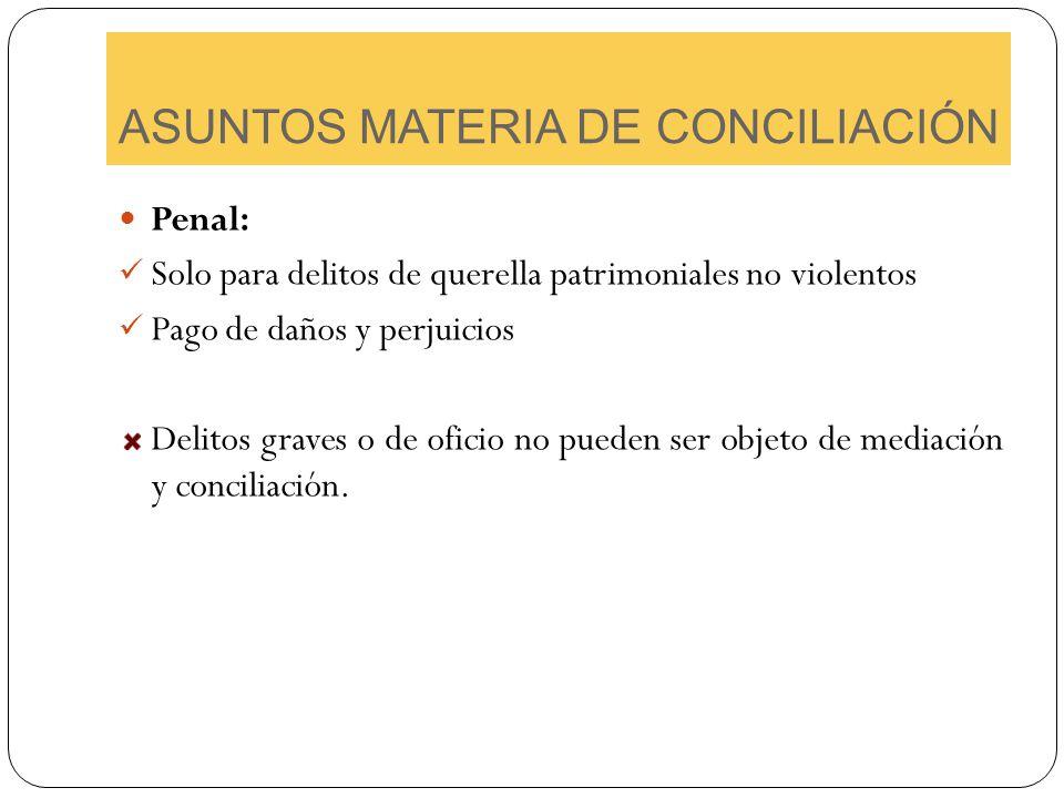 ASUNTOS MATERIA DE CONCILIACIÓN Penal: Solo para delitos de querella patrimoniales no violentos Pago de daños y perjuicios Delitos graves o de oficio
