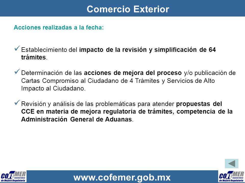 www.cofemer.gob.mx Comercio Exterior Acciones realizadas a la fecha: Establecimiento del impacto de la revisión y simplificación de 64 trámites. Deter