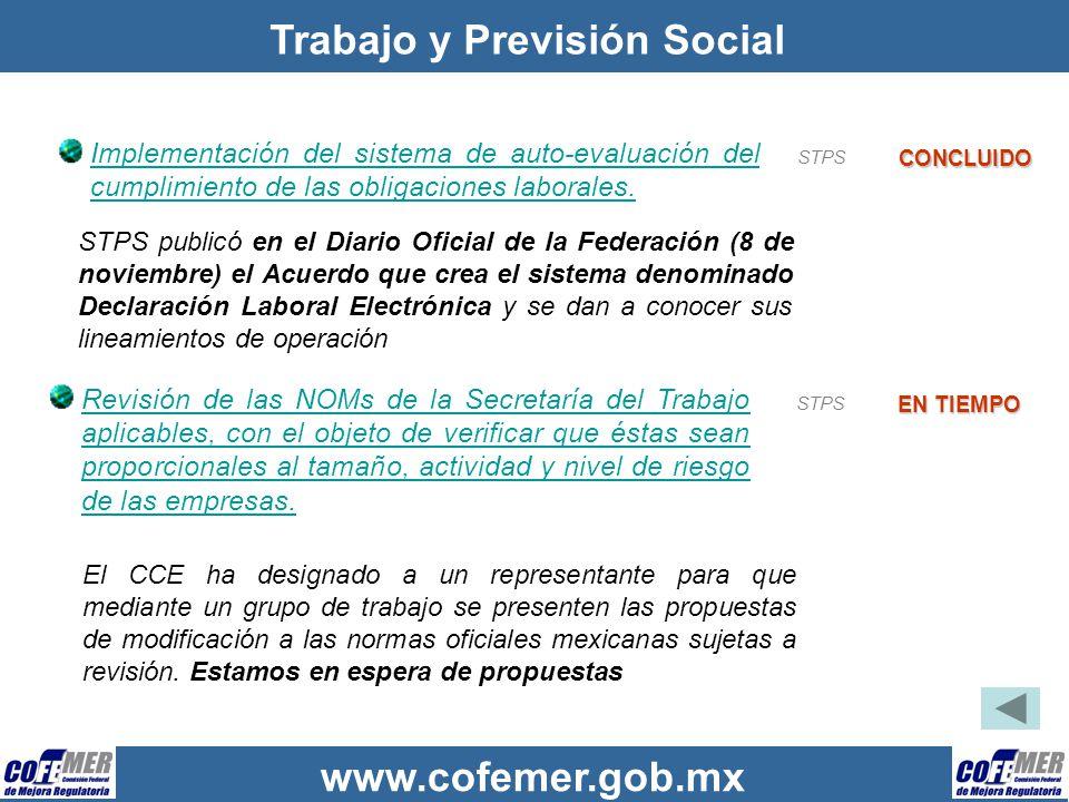 www.cofemer.gob.mx Trabajo y Previsión Social Implementación del sistema de auto-evaluación del cumplimiento de las obligaciones laborales. CONCLUIDO