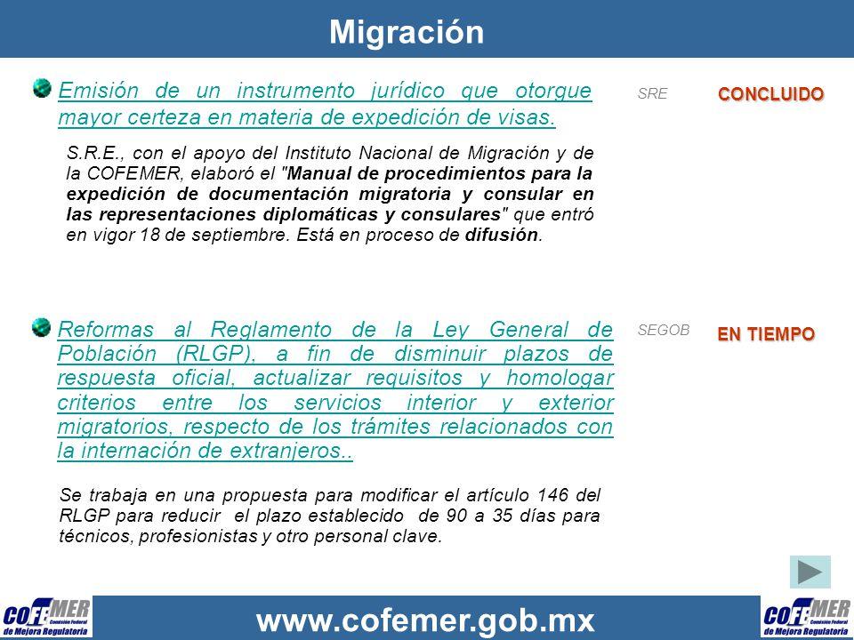 www.cofemer.gob.mx Migración Emisión de un instrumento jurídico que otorgue mayor certeza en materia de expedición de visas. CONCLUIDO SRE S.R.E., con