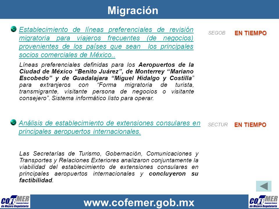 www.cofemer.gob.mx Migración Establecimiento de líneas preferenciales de revisión migratoria para viajeros frecuentes (de negocios) provenientes de lo