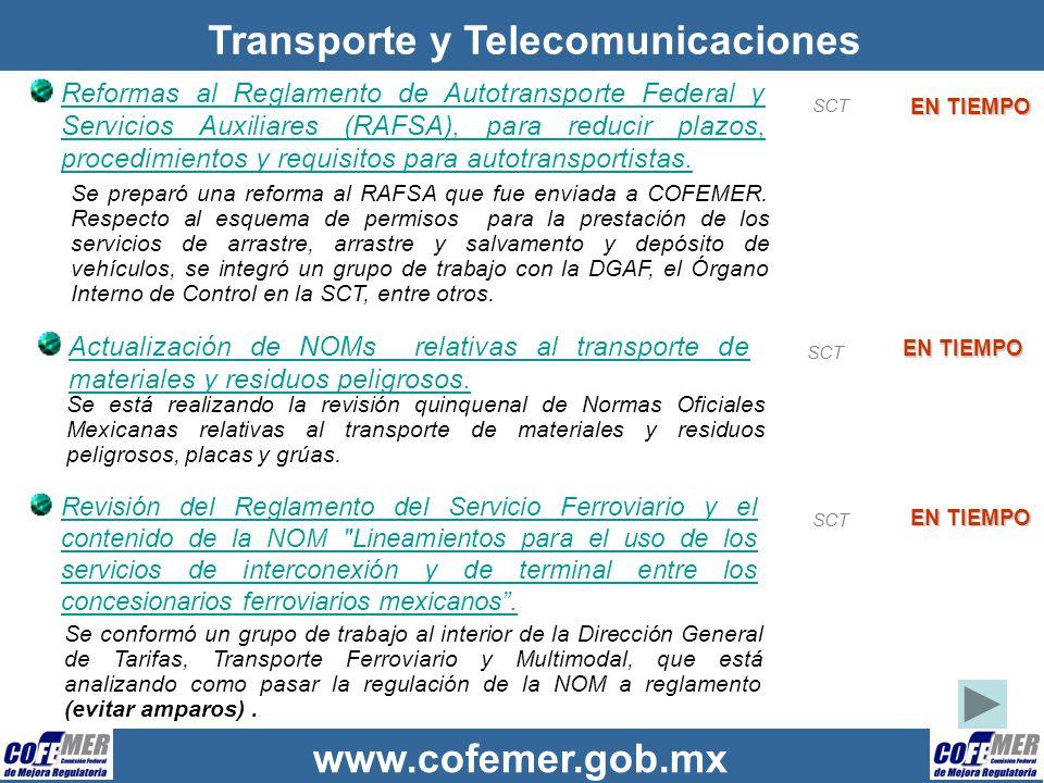 www.cofemer.gob.mx Transporte y Telecomunicaciones Reformas al Reglamento de Autotransporte Federal y Servicios Auxiliares (RAFSA), para reducir plazo