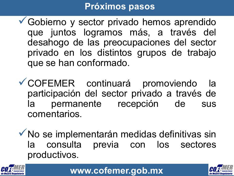 www.cofemer.gob.mx Próximos pasos Gobierno y sector privado hemos aprendido que juntos logramos más, a través del desahogo de las preocupaciones del s