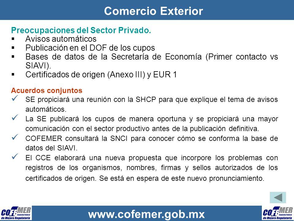 www.cofemer.gob.mx Comercio Exterior Preocupaciones del Sector Privado. Avisos automáticos Publicación en el DOF de los cupos Bases de datos de la Sec