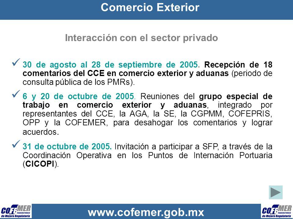 www.cofemer.gob.mx Interacción con el sector privado 30 de agosto al 28 de septiembre de 2005. Recepción de 18 comentarios del CCE en comercio exterio