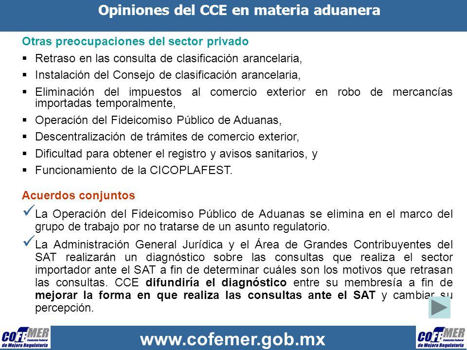 www.cofemer.gob.mx Opiniones del CCE en materia aduanera Acuerdos conjuntos (continuación) El CCE preparará una propuesta de reglas para la conformación y normas de operación del Consejo de Clasificación Arancelaria para promover su conformación.