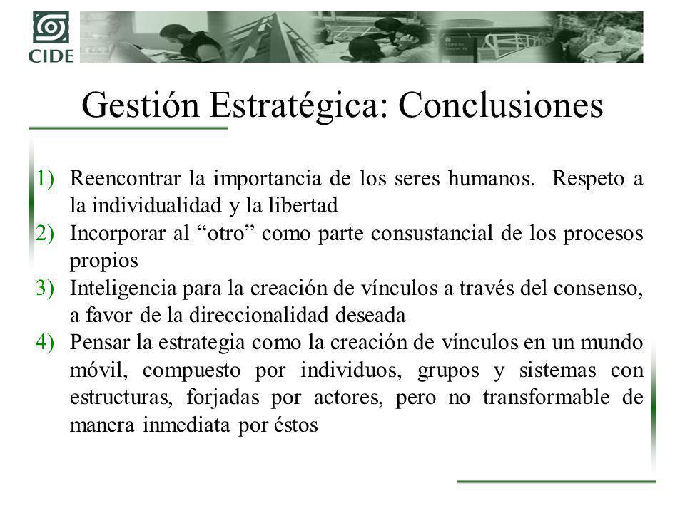 Gestión Estratégica: Conclusiones 1)Reencontrar la importancia de los seres humanos. Respeto a la individualidad y la libertad 2)Incorporar al otro co