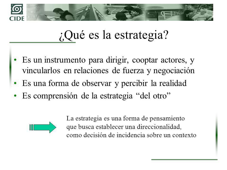 El Proceso de GE: Diagnóstico Táctico Diagnóstico para la acción Busca variables que deberán moverse para lograr los objetivos (dirección de la táctica) Pensamiento táctico (PT): imaginación constructiva Capacidad de movilizar recursos y combinar factores que generen efectos poderosos.