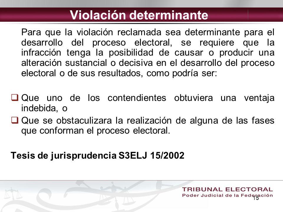 15 Violación determinante Para que la violación reclamada sea determinante para el desarrollo del proceso electoral, se requiere que la infracción ten