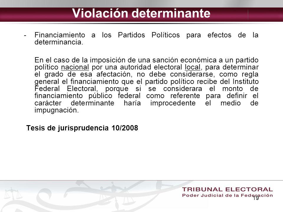 19 Violación determinante -Financiamiento a los Partidos Políticos para efectos de la determinancia. En el caso de la imposición de una sanción económ