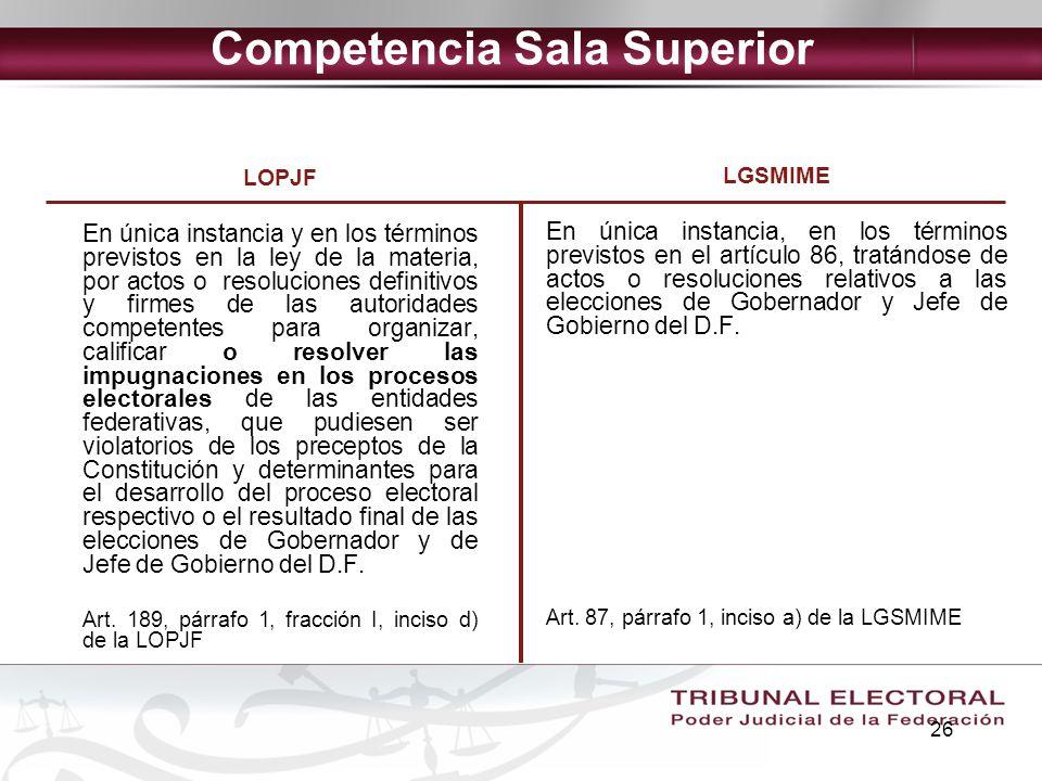 26 Competencia Sala Superior LOPJF En única instancia y en los términos previstos en la ley de la materia, por actos o resoluciones definitivos y firm