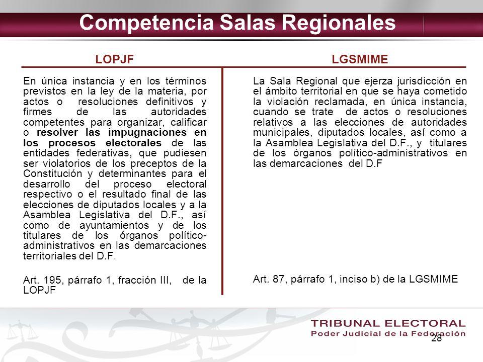 28 Competencia Salas Regionales LOPJF En única instancia y en los términos previstos en la ley de la materia, por actos o resoluciones definitivos y f