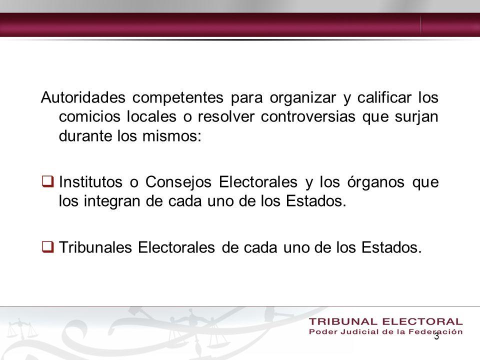 3 Autoridades competentes para organizar y calificar los comicios locales o resolver controversias que surjan durante los mismos: Institutos o Consejo