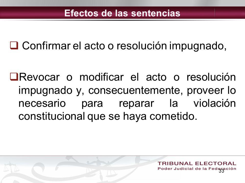 33 Efectos de las sentencias Confirmar el acto o resolución impugnado, Revocar o modificar el acto o resolución impugnado y, consecuentemente, proveer