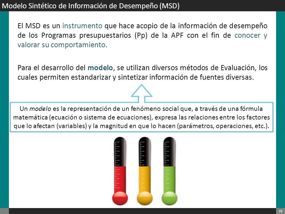 40 Propósito que persigue Que las Dependencias y Entidades de la APF: Cuenten con elementos para la toma de decisiones de asignación presupuestaria basada en los resultados de los programas.