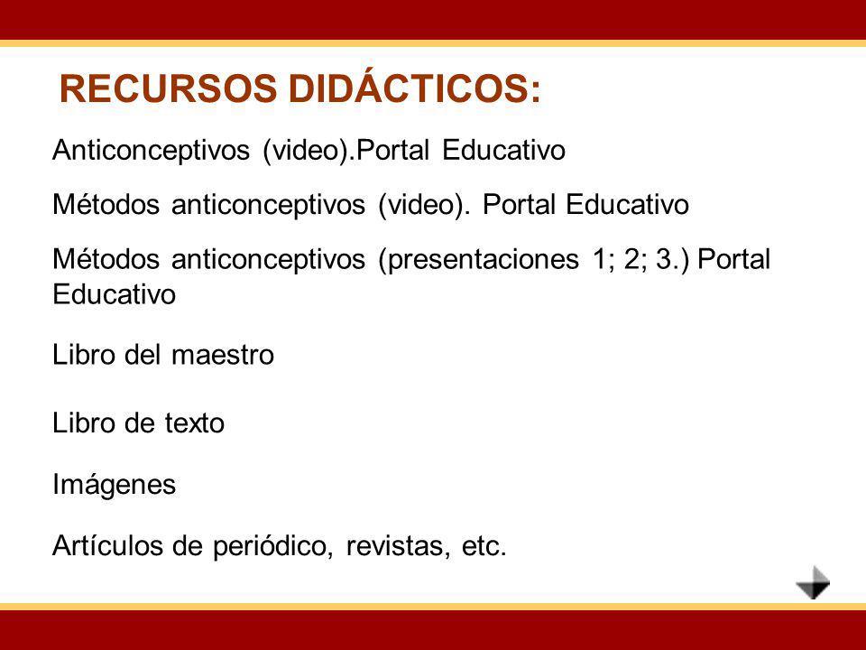 RECURSOS DIDÁCTICOS: Anticonceptivos (video).Portal Educativo Métodos anticonceptivos (video). Portal Educativo Métodos anticonceptivos (presentacione