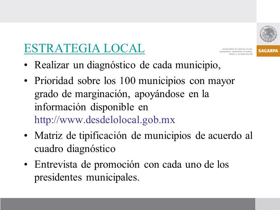 ESTRATEGIA LOCAL Realizar un diagnóstico de cada municipio, Prioridad sobre los 100 municipios con mayor grado de marginación, apoyándose en la inform
