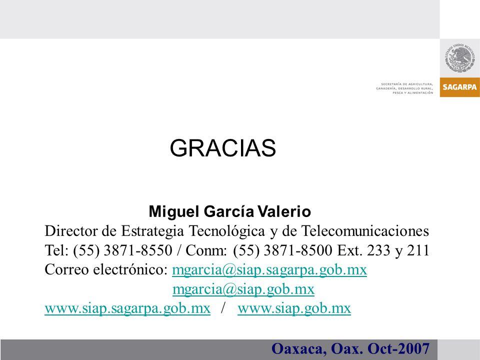 GRACIAS Miguel García Valerio Director de Estrategia Tecnológica y de Telecomunicaciones Tel: (55) 3871-8550 / Conm: (55) 3871-8500 Ext. 233 y 211 Cor