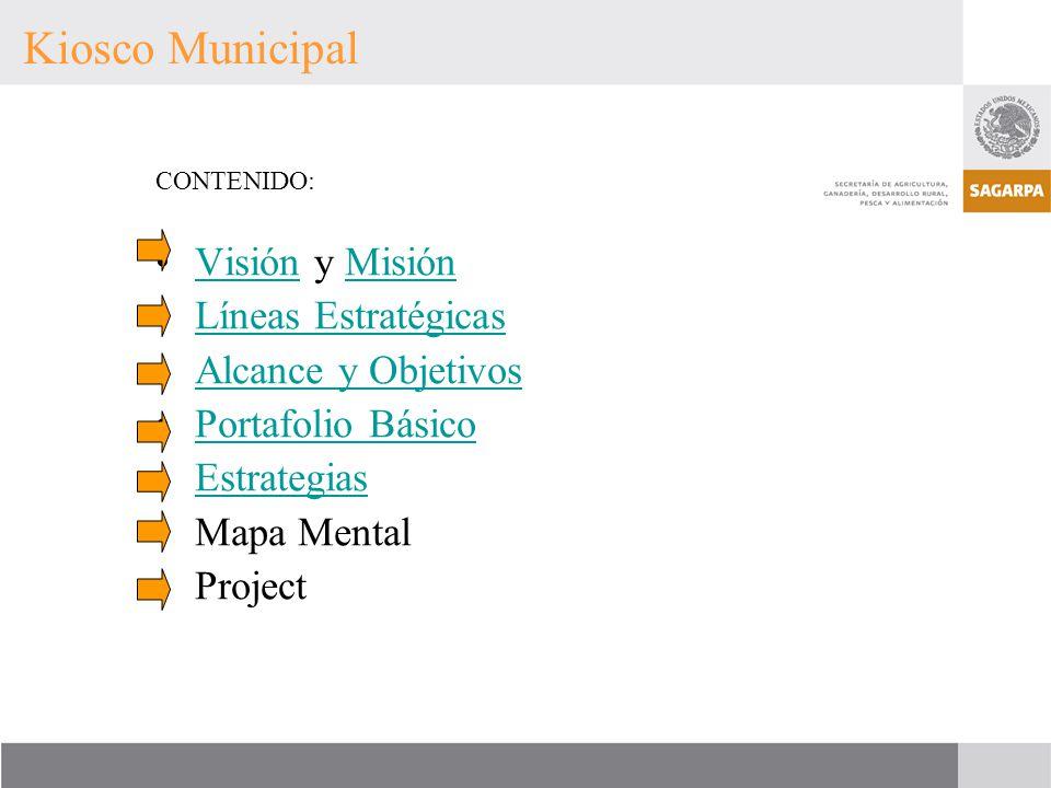CONTENIDO: Visión y MisiónVisiónMisión Líneas Estratégicas Alcance y Objetivos Portafolio Básico Estrategias Mapa Mental Project Kiosco Municipal