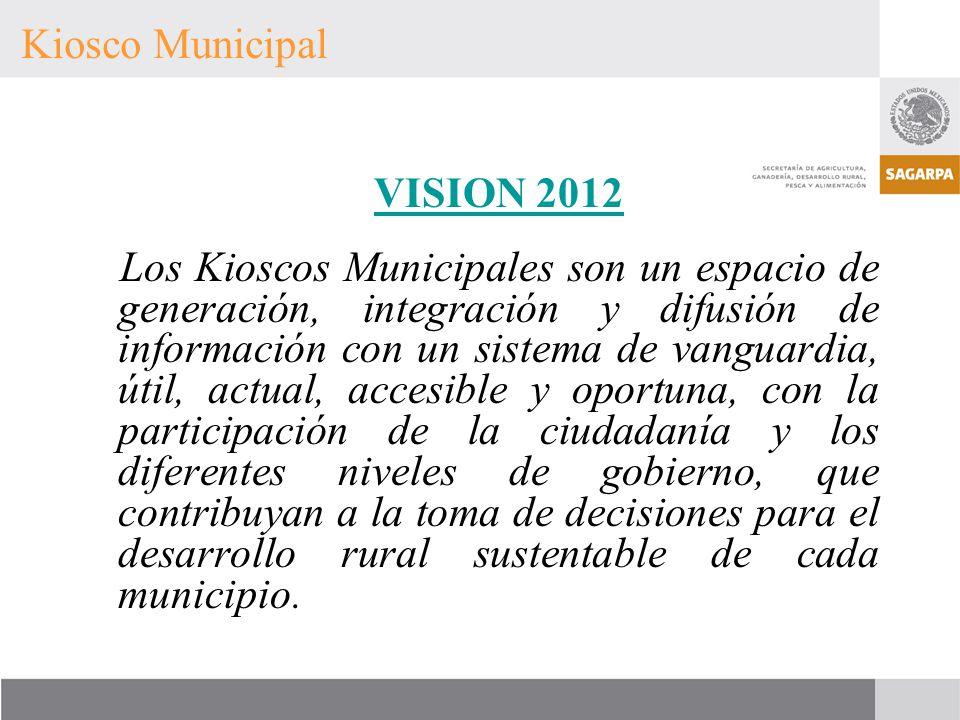 VISION 2012 Los Kioscos Municipales son un espacio de generación, integración y difusión de información con un sistema de vanguardia, útil, actual, ac