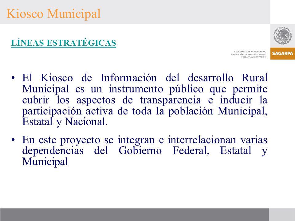 Kiosco Municipal LÍNEAS ESTRATÉGICAS El Kiosco de Información del desarrollo Rural Municipal es un instrumento público que permite cubrir los aspectos