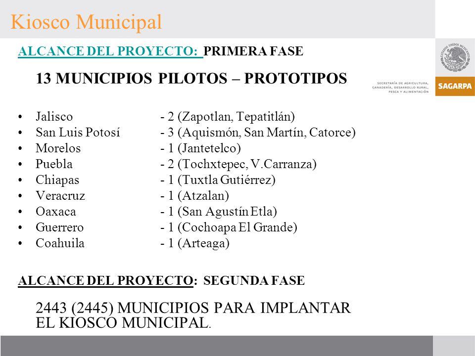 ALCANCE DEL PROYECTO: ALCANCE DEL PROYECTO: PRIMERA FASE 13 MUNICIPIOS PILOTOS – PROTOTIPOS Jalisco - 2 (Zapotlan, Tepatitlán) San Luis Potosí- 3 (Aqu