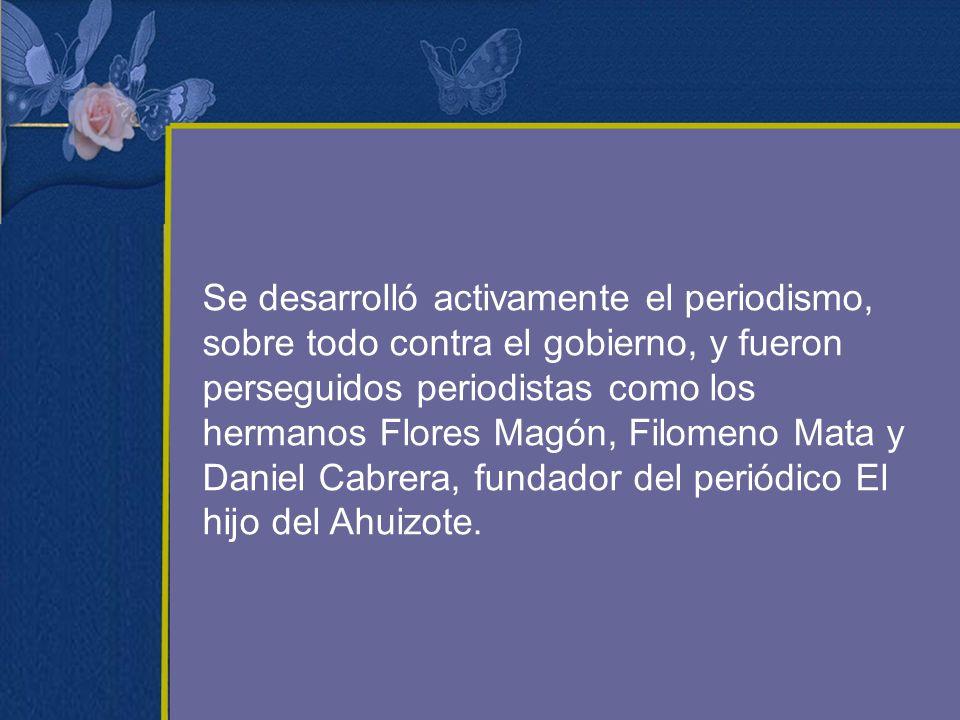 Se desarrolló activamente el periodismo, sobre todo contra el gobierno, y fueron perseguidos periodistas como los hermanos Flores Magón, Filomeno Mata