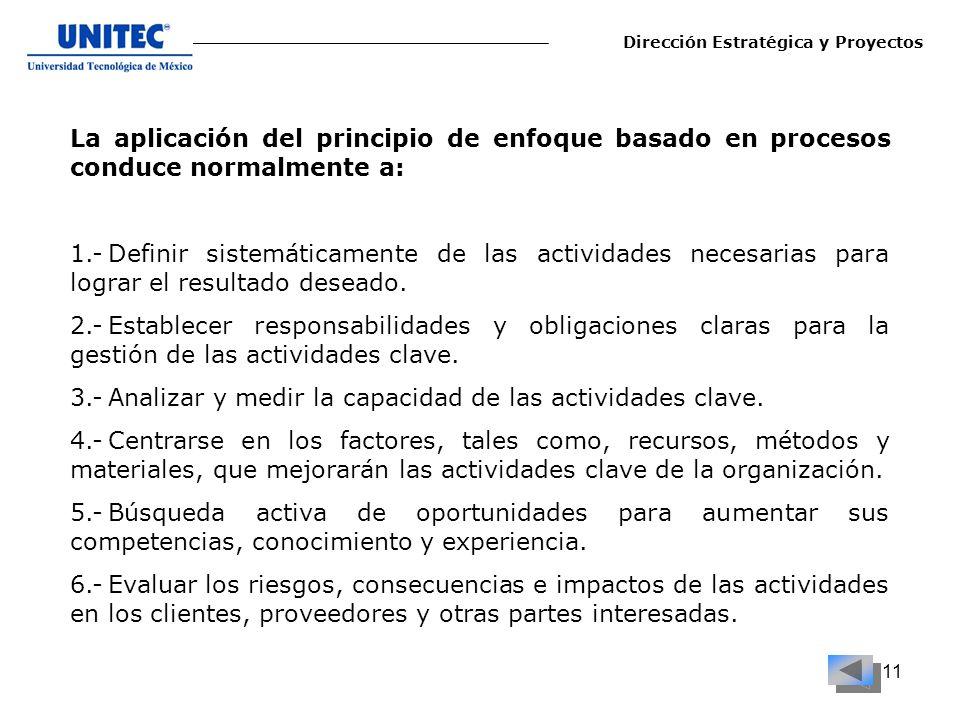 11 La aplicación del principio de enfoque basado en procesos conduce normalmente a: 1.-Definir sistemáticamente de las actividades necesarias para log