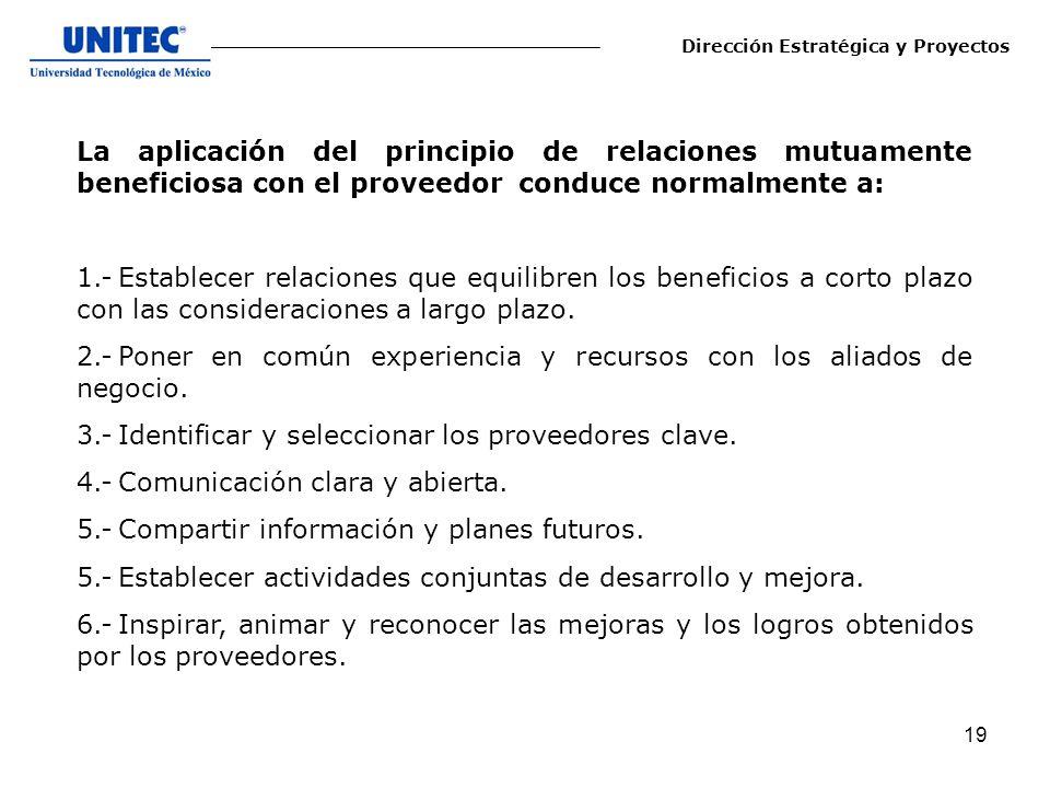 19 La aplicación del principio de relaciones mutuamente beneficiosa con el proveedor conduce normalmente a: 1.-Establecer relaciones que equilibren lo
