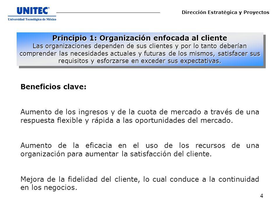 5 La aplicación del principio de enfoque al cliente normalmente conduce a: 1.-Estudiar y comprender las necesidades y expectativas del cliente.