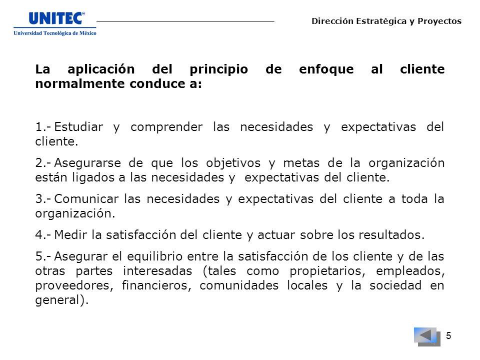 5 La aplicación del principio de enfoque al cliente normalmente conduce a: 1.-Estudiar y comprender las necesidades y expectativas del cliente. 2.-Ase