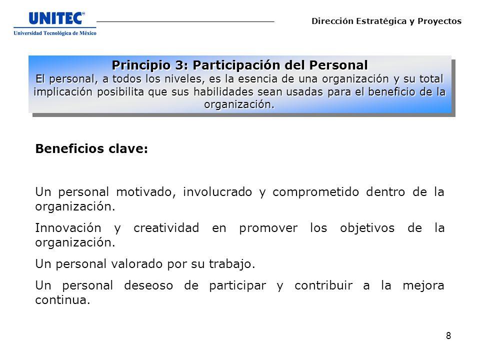 9 La aplicación del principio de participación del personal conduce normalmente a: 1.-Comprender la importancia de su contribución y su papel en la organización.