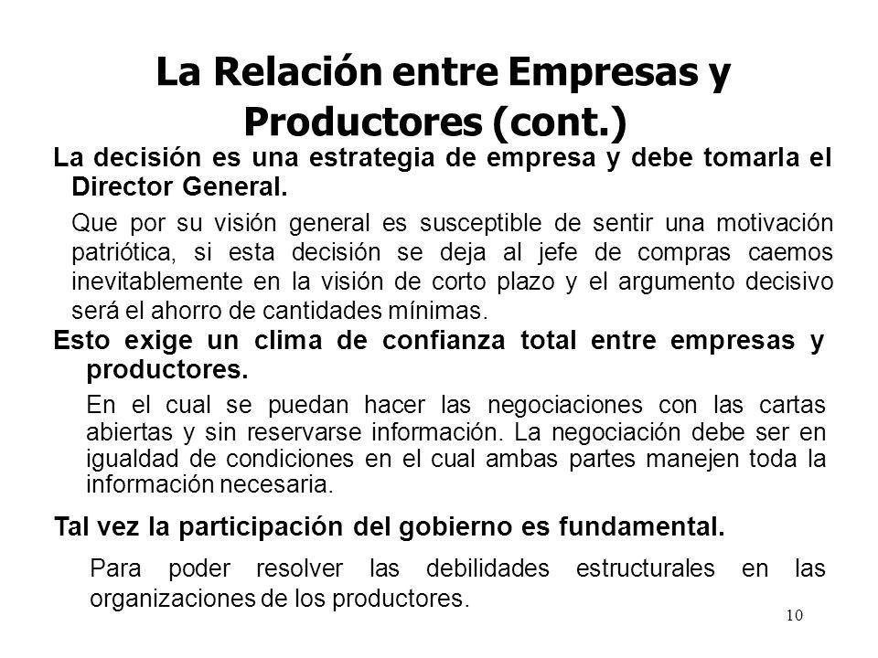 10 La Relación entre Empresas y Productores (cont.) Esto exige un clima de confianza total entre empresas y productores. En el cual se puedan hacer la